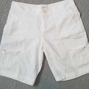 Loft lightweight white cargo shorts